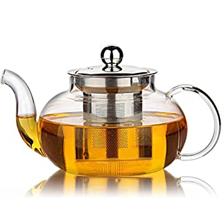 Hiware Good Glass Teapot with Removable Stainless Steel Lid & Infuser, 33 Ounce Teapot Stove Top Safe for Blooming & Loose Leaf