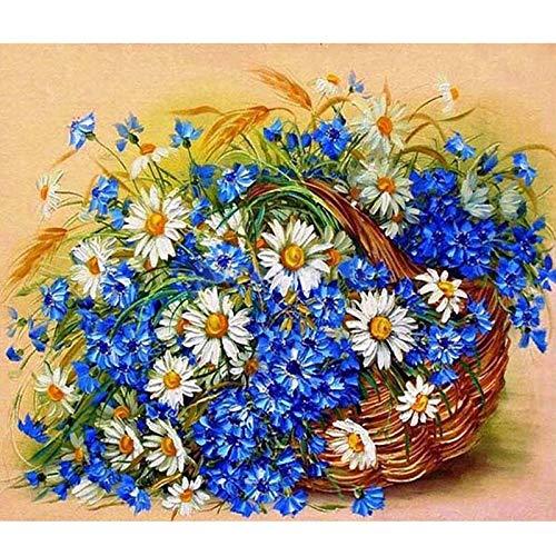 Diamante Pintura Taladro completo Nuevo D4188 Imagen de la cesta de flores 3D DIY Punto de cruz Bordado Mosaico Pintura Artesanal Works-Taladro redondo,30X40cm
