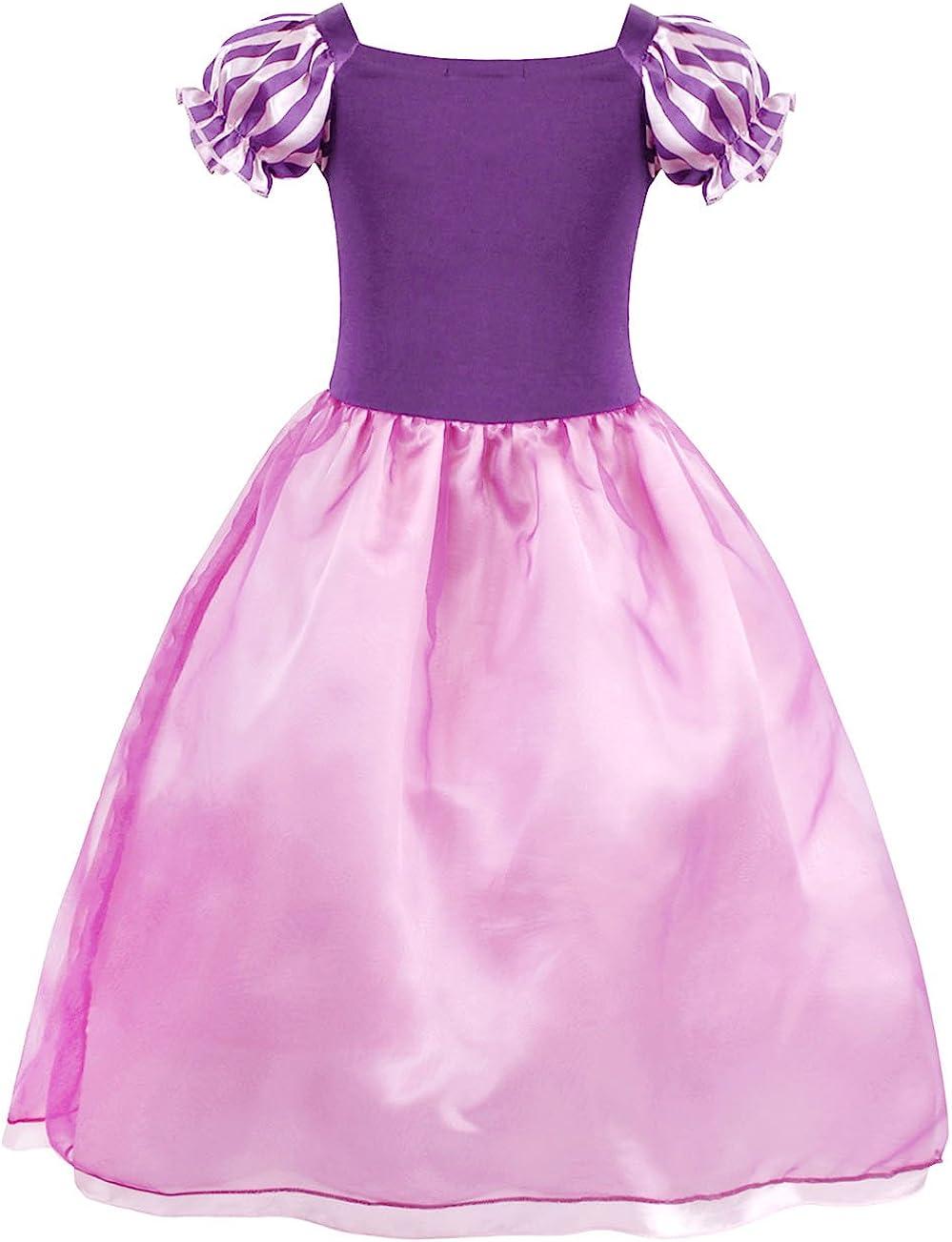 HenzWorld Little Girls Dress Costume Princess Birthday Party Cosplay Wig Headband Accessories Clothes Set Purple