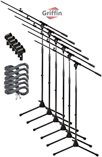 Telescoping Microphone Boom Stand with 20FT XLR Mic Cable & Clip (Pack of 6) by Griffin   Tripod Premium Quality for Studio, Karaoke, Live Performances, Conferences, Studio 20 AWG Shielded Wire, 3-Pin