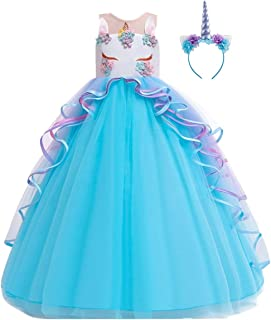 Unicorn Princess Costume Birthday Pageant Party Dance Performance Carnival Long Maxi Tulle Fancy Dress Up Outfits
