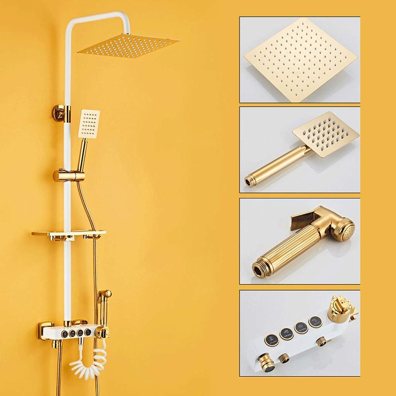 Jokeagliey Badezimmer-Zusatzdüse, BrauseGold-Thermostat-Dusche, Badezimmer zur Wandmontage, Dusche,Metallic