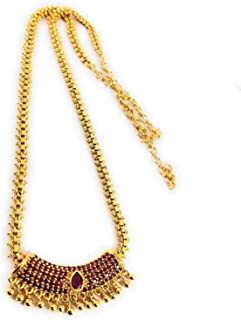 AFJ GOLD 1 Gram Micro Gold Plated South Indian Traditional Trendy Stylish Fashion Jewellery Wedding Ruby Haram for Women &...