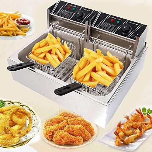 CNCEST 6L /6.3QT 2500W Deep Fryer Electric Deep Fryer Single Basket Countertop Gas Fryer For Home Commercial (12L)