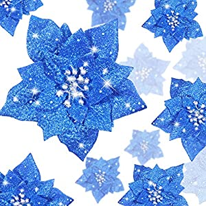 WILLBOND 36 Pieces Christmas Glitter Poinsettia Artificial Flowers Christmas Flowers Decorations Wedding Xmas Tree New Year Ornaments