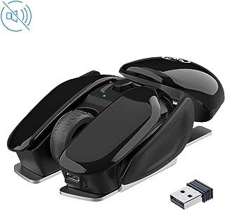 TKOOFN 2.4G USB Ratón Inalámbrico Silencioso, 3 dpi (800/1200/1600) Ratón Inalámbrico Recargable con 4 Botones, Diseño Genial Ideal para Windows Mac Linux Ordenador Portátil PC Computadora Oficina