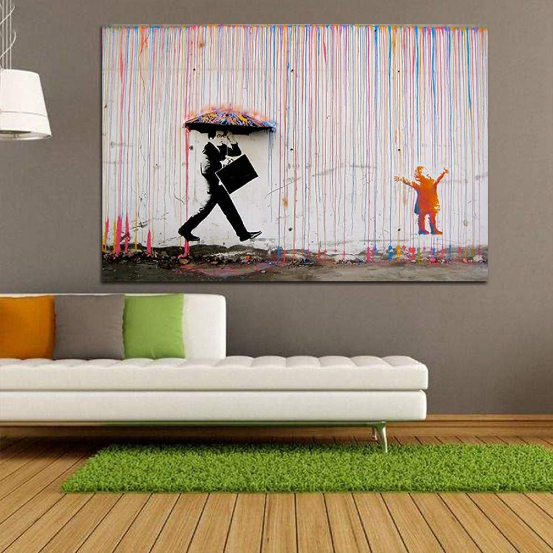 envío gratuito a nivel mundial QIAISHI Arte Grafiti Lluvia Colorida Impresiones en Lienzo Pintura Moderna Moderna Moderna en Lienzo Arte de la Parojo Cocheteles e Impresiones para la decoración de la Sala de EEstrella  el mas reciente