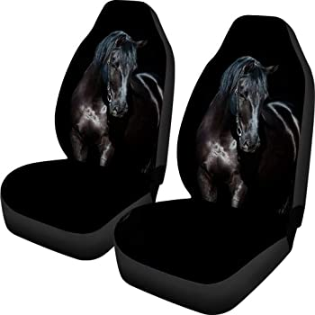 Showudesigns Horse Print Car Seat Covers 2 Piece Front Seat Protecor Cushion Fits Most Cars, Sedan, Trunk, SUV or Van Air Bag Compatible