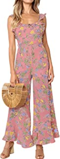 Women's Casual Flower Frinted Falbala Overall Wide Leg Jumpsuit Bandage Rompers with Belt
