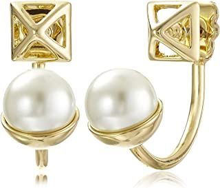 "(Gold with Pearl) - Rebecca Minkoff""Core"" Pyramid Gold Pearl Front/Back Drop Earrings"