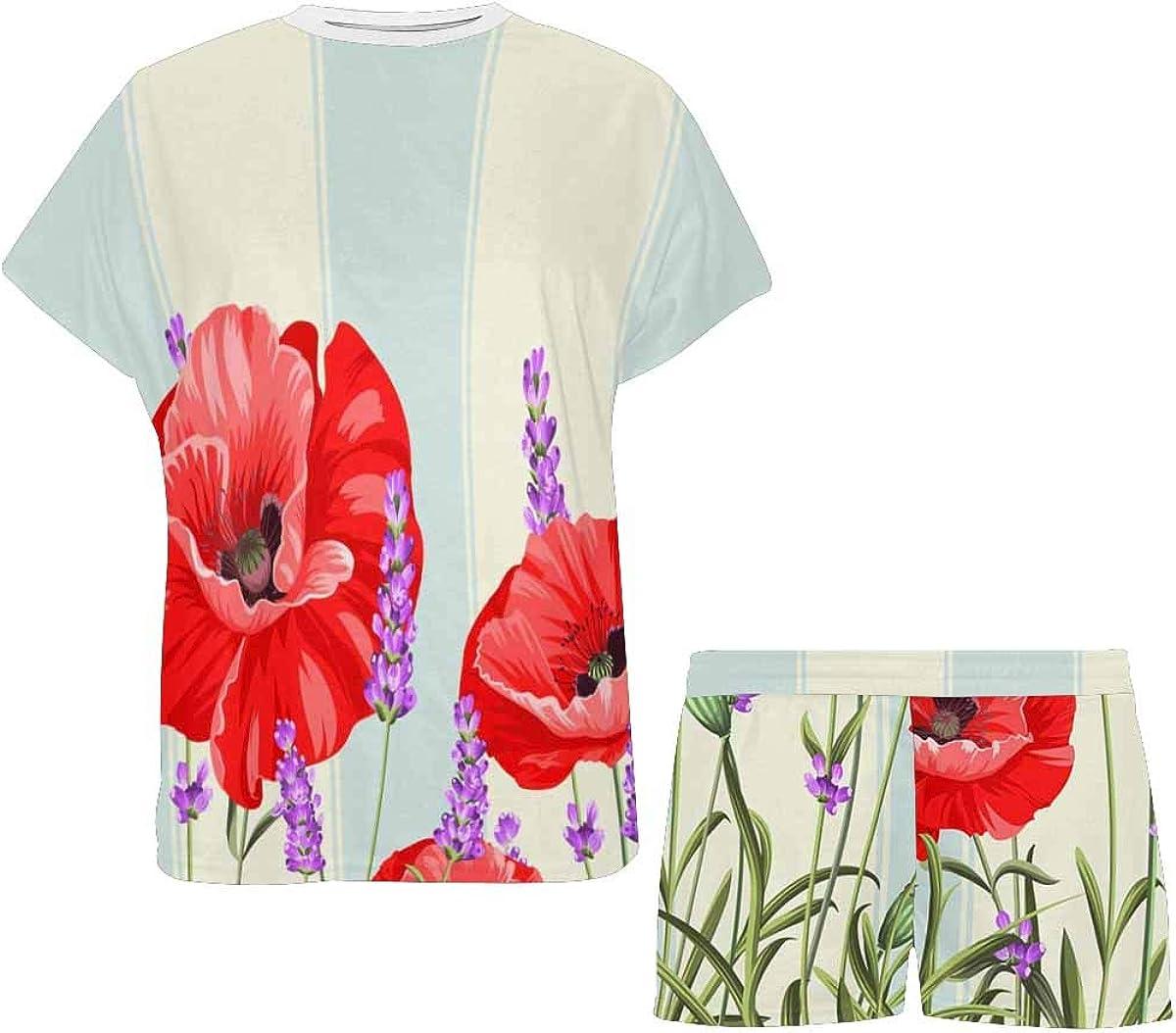 InterestPrint Poppy Flowers Over White Background Women's Pajamas Short Sets Round Neck Short Sleeve Sleepwear