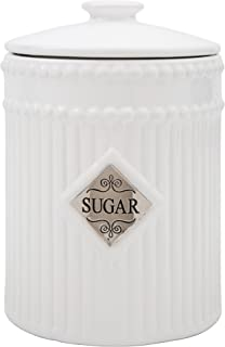 Home Essentials 60 Oz Round Canister With Sugar Metal Emblem