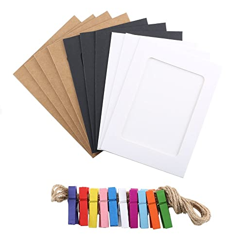 Pulluo 10pcs Hanging Paper Photo Frame 3 Colours Cardboard Picture Frames Display With Mini Wooden Multicolor