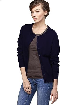 8f3dbfabe4 Wiwish Women Button Down Long Sleeve Crewneck Soft Cotton Classic Knit  Cardigan Sweater Size XS-