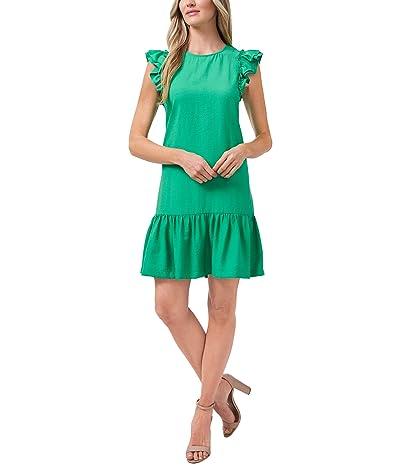 CeCe Flutter Sleeve Ruffled Dress