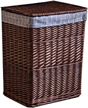 YAYADU Storage Basket Rattan Weave Rectangle Finishing Box Home High Capacity Store Toy Snacks Book Clothes Newspapers (Co...
