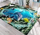 Mejor Precio-Submarine World Pattern Carpet Soft Sofá Antideslizante Mesa de Centro Dormitorio Mesita de Noche Alfombra, 120 × 160 cm