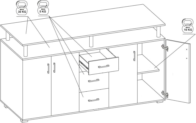 m/öbelando Highboard Kommode Standschrank Sideboard Anrichte Beistellschrank Lyndy I Beton//T/üren Wei/ß