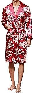 8e8e278d76 YIMANIE Men s Satin Robe Dragon Luxurious Silk Spa Long Sleeve House Kimono  Bathrobe Lightweight Soft Printed