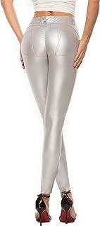 Women's Faux Leather Leggings Pants PU Elastic Shaping...