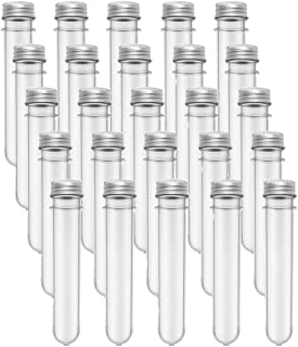 25PCS Test Tubes,40ml Clear Plastic Test Tubes with Screw Caps,25x140mm Tube for Sample,Science Party,Gumball,Candy,Bath Salts