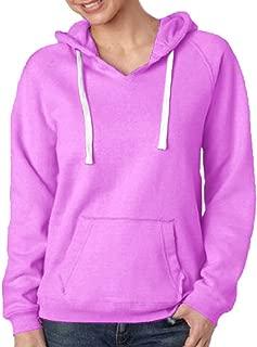J-America Women's Brushed V-Neck Hooded Fleece
