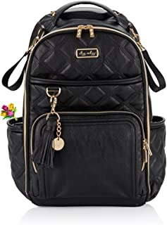 Itzy Ritzy Diaper Bag Backpack – Large Capacity Boss Plus Backpack Diaper Bag Featuring 19 Pockets, Changing Pad, Stroller Clips and Comfortable Backpack Straps, Mystic Black