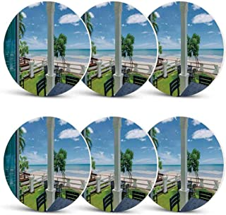 Coastal Decor Funny Coasters,Outdoor Wood Chairs and Tables by the Sea Trees Greenery Summer Villa for Wine Glasses Cold DrinksSet of 6