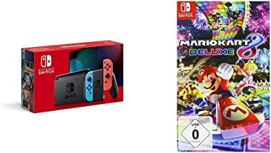 Nintendo Switch Konsole – Neon-Rot/Neon-Blau (neue Edition) + Mario Kart 8 Deluxe..