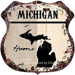 Chic Sign HOME MICHIGAN Map Vintage Retro Rustic 11.5