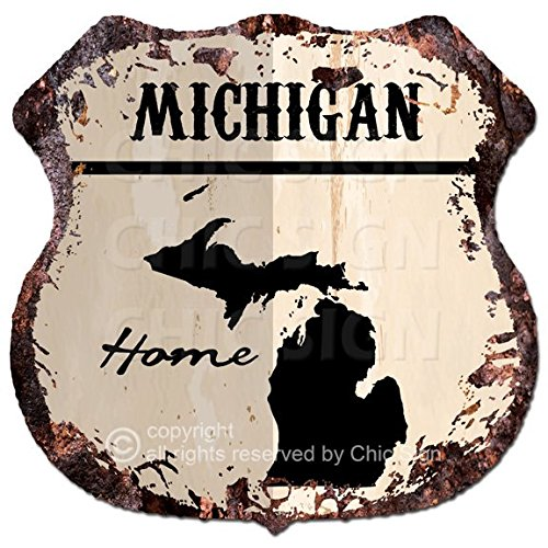Chic Sign HOME MICHIGAN Map Vintage Retro Rustic 115x 115 Shield Metal Plate