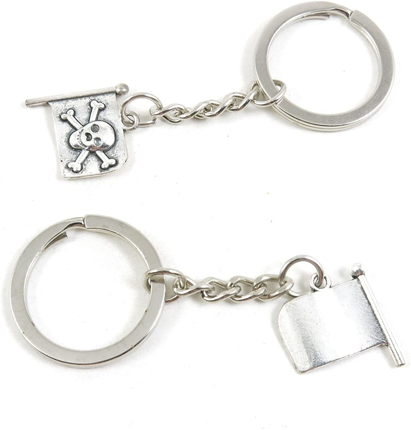 100 Pieces Keychain Keyring Door Car Key Chain Ring Tag Charms Bulk Supply Jewelry Making Clasp Findings G4VZ5Q Pirate Skull Flag