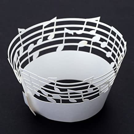 Anself 50Pcs Lace Muffin Case Cupcake Paper Cup Liner, Music Notes Staff Pattern White