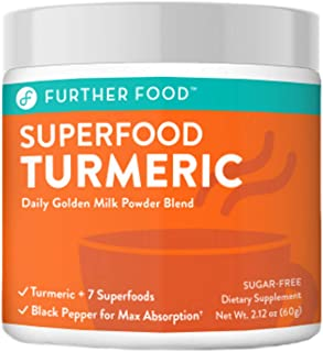 Further Food Superfood Turmeric Golden Milk Powder Boosted with 7 Superfoods & Adaptogens | Plant-Based, Sugar-Free, Non-G...
