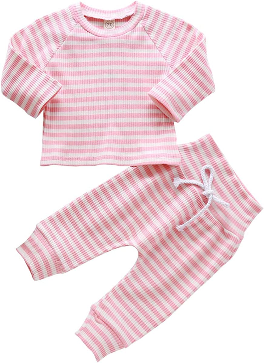 Infant Baby Girl Boy Fall Outfits Set Striped Long Sleeve Top and High Waist Pant Casual Clothes Set