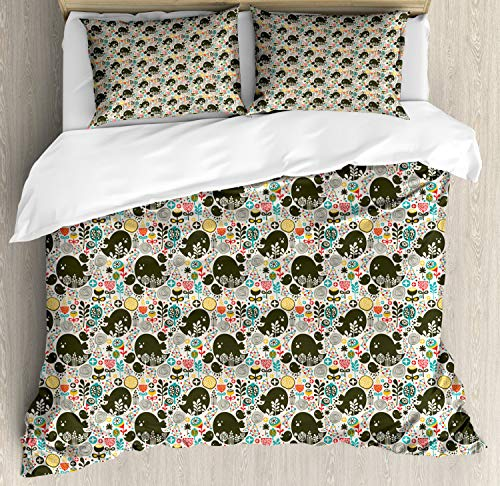 ABAKUHAUS Bloemen Dekbedovertrekset, vogels Berries, decoratieve 3-delige bedset met twee sierslopen, Veelkleurig