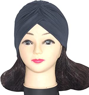 QingFan Women Solid Pre Tied Yoga Cancer Chemo Hat Beanie Turban Stretch Head Wrap Cap