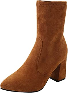 LATINDAY Women's Classic Pointed Toe Ankle Booties High Stiletto Heels Zipper Short Boots