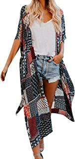 Towallmark Women Boho Floral Printed Chiffon Beach Shawl Kimono Long Cardigan