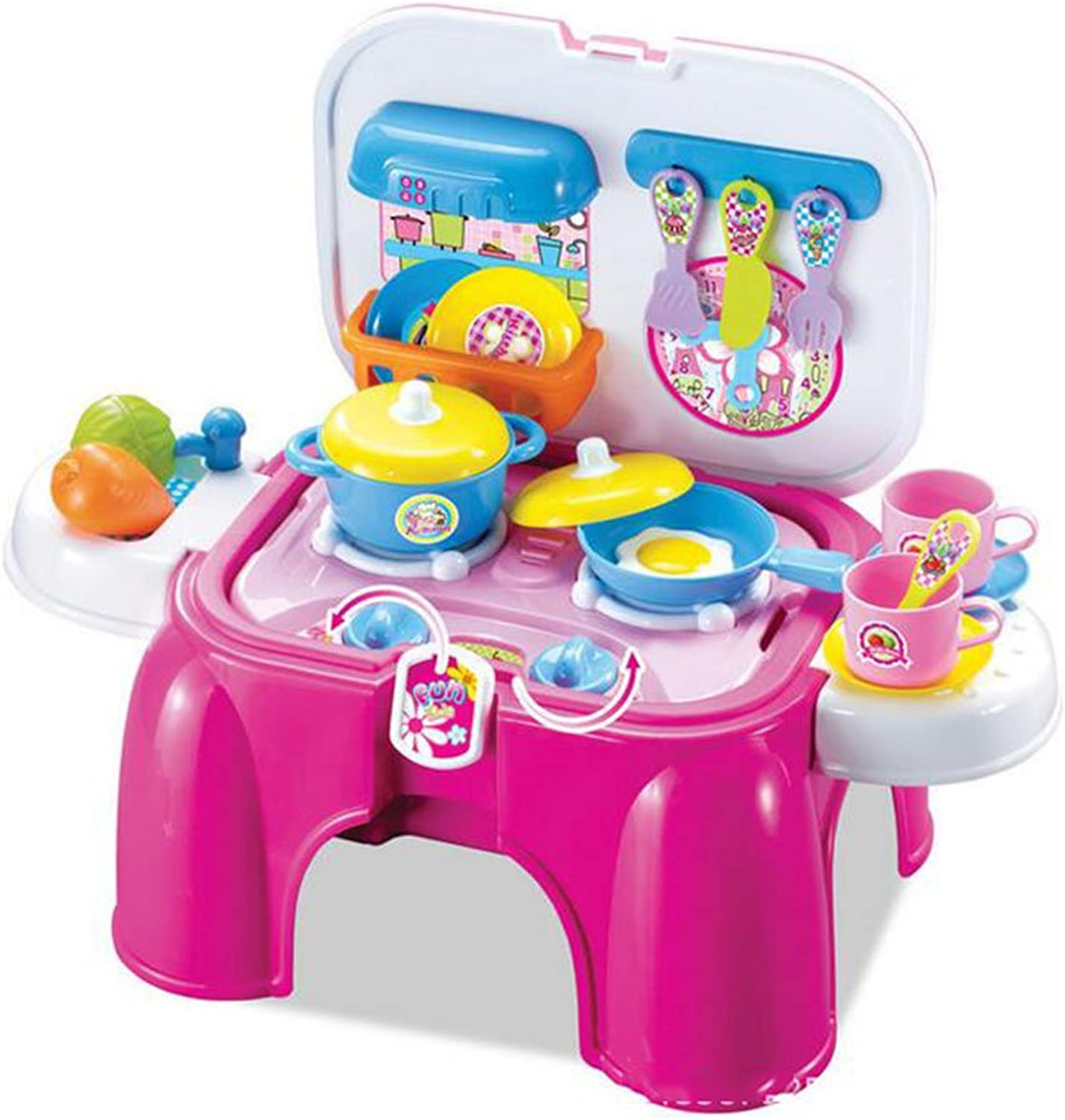 CFZHANG Kitchen Set Kids Plastic Pretend Cutting Fruit Bundle With Accessories Portable Seat Educational Toys Role Playing Game