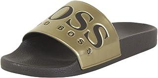 Hugo Boss Men's Solar Gold Metallic Slides Sandals Shoes