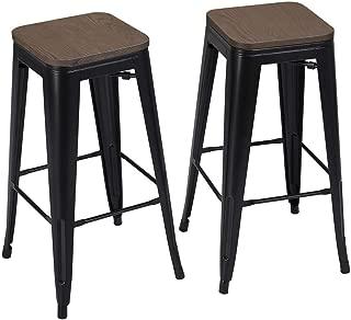 Yaheetech Metal Bar Stools Set of 2 Island Stools 30 Inch Barstools Kitchen Bar Height Pub Barstool w/Wood Seat Stackable, Black