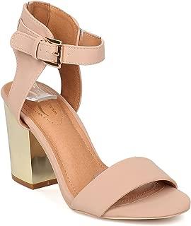 Women Nubuck Open Toe Ankle Strap Metallic Block Heel Sandal GE43
