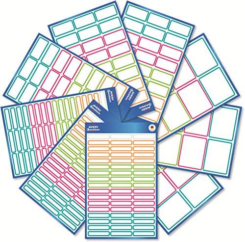 AVERY Zweckform Set di 249 adesivi per bambini (etichette adesive colorate per la scuola, le scatole, i libri, come portapenne e co., diversi formati, resistenti, autiscrizioni) Art. 59983