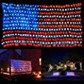 American Flag String Lights, Waterproof Outdoor Lighted USA Flag Net Lights, 6.56ft x 3.28ft 30V Low Voltage Hanging Ornaments for Independence Day, Memorial Day, July 4th, National Day Decoration