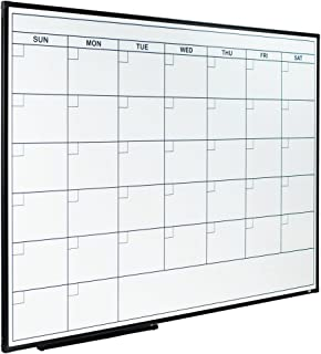 Lockways Dry Erase Calendar Whiteboard, Magnetic White Board Calendar Monthly 48 X 36 Inch, Ultra-Slim Black Aluminium Frame