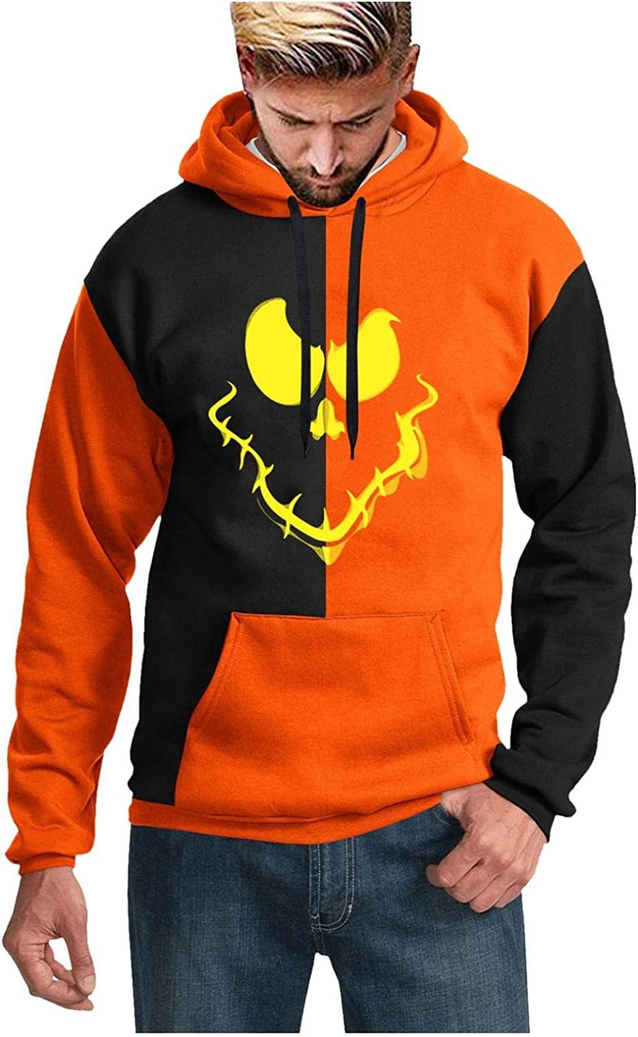 Men's Hoodies Halloween 3D Prints Sweatshirt Graphic Funny Long Sleeve Pullover Tops Blouse with Pocket