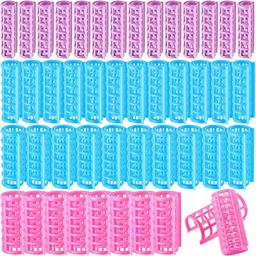 44 Stück Kunststoff-Lockenwickler, selbstgreifend, Lockenwickler zum Anklemmen, keine Hitze, Lockenwickler für DIY Friseur, Friseursalon, Friseursalon, 4 Größen