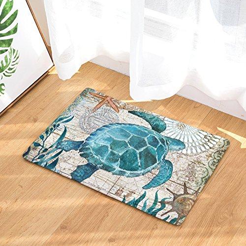 Watercolor Ocean Animals Non Slip Doormat Non-Slip Indoor Front Door Mat for Home Kitchen Bathroom(Sea Turtle Print)