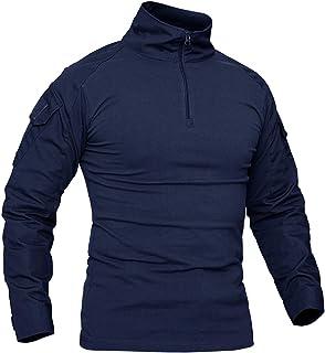 KEFITEVD Herr Slim Fit militär taktisk långärmad skjorta 1/4 framsida dragkedja kamouflage airsoft tröjor utomhus strid t-...